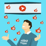 Popular Video Blogger With Like Thumb Up Royalty Free Stock Photography