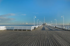 Popular walking jetty the longest European wooden sea pleasure pier in Sopot Stock Photography