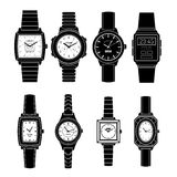 Popular Watches Styles Black Icons Set Stock Photos