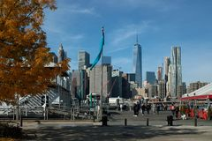 Fulton Ferry Landing, Brooklyn New York, USA. A popular waterfront destination for tourists,this venue offers access to the East River Ferry, Barge Music, a beer royalty free stock photography