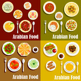 Popular wholesome dishes of arabian cuisine icons Royalty Free Stock Photos