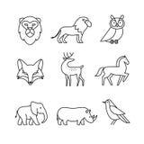 Popular wild life animals thin line art icons set Royalty Free Stock Image