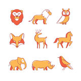 Popular wild life animals thin line icons set Stock Images