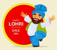 Popular winter Punjabi folk festival Lohri. Funny dancing Sikh man. Cartoon character for sale, banner, poster. Vector illustration vector illustration