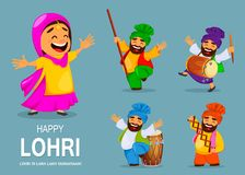 Popular winter Punjabi folk festival Lohri royalty free illustration
