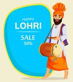 Popular winter Punjabi folk festival Lohri. Sikh man with decorated drum. Banner, poster for sale. Vector illustration on light background stock illustration