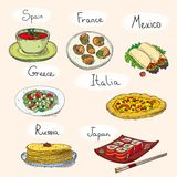 Popular world famous food international restaurant stock illustration
