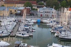 Populare boat tuorist area visby harbor on the island Gotland in Royalty Free Stock Photography