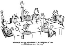 Popularity Contest. Business cartoon showing people, including a cat, in a meeting voting.  Boss says, 'Although it's not unanimous, I'm glad some of you would Royalty Free Stock Photography