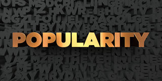 Popularity - Gold text on black background - 3D rendered royalty free stock picture Royalty Free Stock Photography