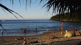 Popularna noosa plaża przy zmierzchem zbiory