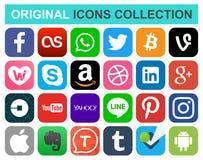 Popularne ogólnospołeczne medialne i inne ikony ilustracja wektor