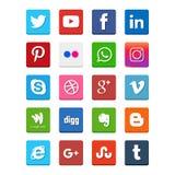 Popularne ogólnospołeczne medialne ikony tak jak: Facebook, świergot, Blogger, royalty ilustracja
