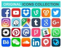 Popularne ogólnospołeczne medialne i inne ikony Zdjęcia Stock