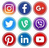 Popularnego okręgu ogólnospołeczne medialne ikony z obręczem zdjęcie royalty free