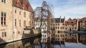 Popularnego turystycznego miejsce przeznaczenia średniowieczny historyczny miasto Brugge w Flandryjskim w Flamandzkim regionie Be zdjęcia stock