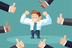 Popularny biznesmen napina mięśnie z dużo zaludnia pokazywać aprobaty ilustracja wektor