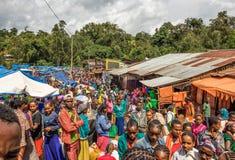 Popularny i zatłoczony afrykanina rynek w Jimma, Etiopia Zdjęcie Royalty Free