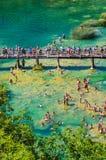 Popularny Krka park narodowy podczas ruchliwie wakacje letni w Chorwacja 25 08 2016 Zdjęcia Royalty Free