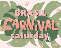 Popularny wydarzenia Brazylia karnawału tytuł Z Kolorowymi Partyjnymi elementami Zdjęcie Stock