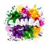 Popularny wydarzenie w Brazylia Karnawału tytuł Z Kolorowymi Partyjnymi elementami i kleksami miejsca przeznaczenia szkła target8 ilustracja wektor