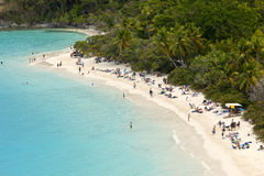 Populated beach, us virgin islands Royalty Free Stock Photography