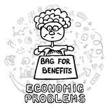 Population aging concept. Сoncept of economic problem such as population aging, a large number of pensions and benefits. Doodle hand drawn style, illustration Royalty Free Stock Photos
