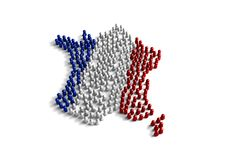 Population of the France. Represented by 3d character on white background Vector Illustration