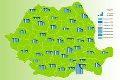 Population map of Romania stock photography
