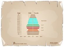 2016-2020 Population Pyramids Graphs with 4 Generation. Population and Demography, Population Pyramids Chart or Age Structure Graph with Baby Boomers Generation Vector Illustration