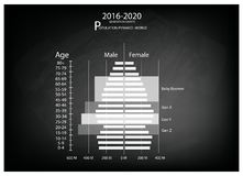 2016-2020 Population Pyramids Graphs with 4 Generation. Population and Demography, Illustration of Population Pyramids Chart or Age Structure Graph with Baby Stock Photography