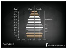 2016-2020 Population Pyramids Graphs with 4 Generation. Population and Demography, Illustration of Population Pyramids Chart or Age Structure Graph with Baby Stock Images
