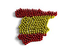 Population of the Spain. Represented by 3d character on white background Royalty Free Illustration