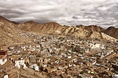 Top view of the populated city of Ladakh, India royalty free stock images
