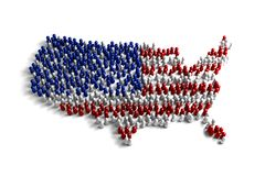 Population of the United States. Represented by 3d character on white background Royalty Free Illustration