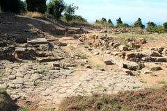 Populonia,意大利考古学Parc的工作者  免版税库存照片