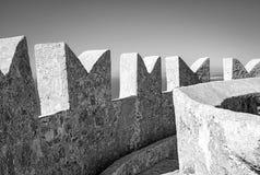 Populonia, le pareti della fortezza Foto in bianco e nero di Pechino, Cina Fotografia Stock Libera da Diritti