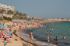 Populous beach in city. Palma-de-Mallorca, Spain. 06-07-2017 Stock Images