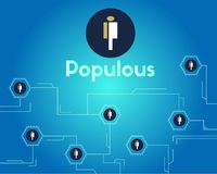 Populous cryptocurrency blockchain technology networking background. Vector illustration Royalty Free Stock Photo