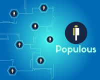 Populous cryptocurrency blockchain technology networking background. Vector illustration Royalty Free Stock Image