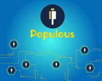 Populous cryptocurrency blockchain technology networking background. Vector illustration Royalty Free Stock Photos