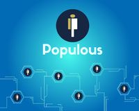 Populous cryptocurrency blockchain technology networking background. Vector illustration Stock Photography