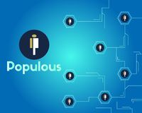 Populous cryptocurrency blockchain technology networking background. Vector illustration Stock Image