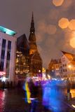 Populous night square. People in motion in city square Royalty Free Stock Photo