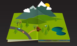 Popup book forest mountain spring summer Royalty Free Stock Photo
