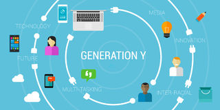 Generation Y or smart phone generation millennials Royalty Free Stock Photo