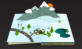 Popup book forest mountain wintwr snow Royalty Free Stock Photography