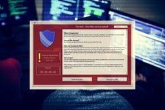 Popup programmera för Firewall på datoren som kodifierar skärmbakgrund royaltyfria bilder