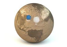 Porównanie wodne i lotnicze masy planety ziemia Zdjęcie Royalty Free