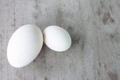 Porównuje wielkościowego gęsiego jajko i kaczki jajko na starym drewnianym stole zdjęcie royalty free